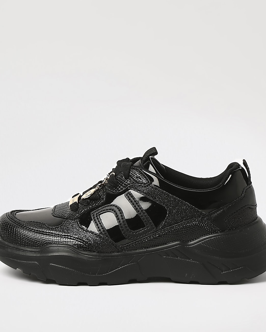 Girls black RI chunky lace up trainers