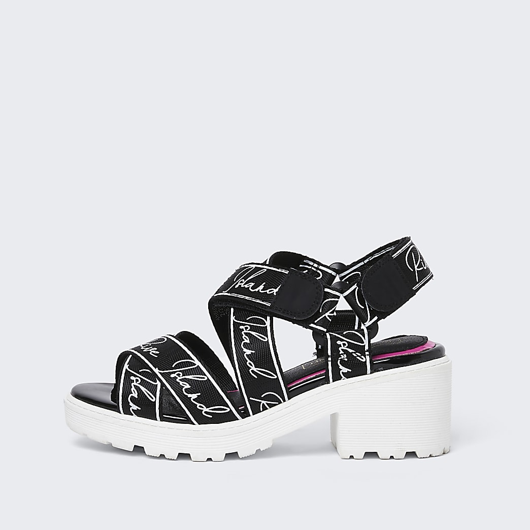 Girls black RI chunky strap sandals