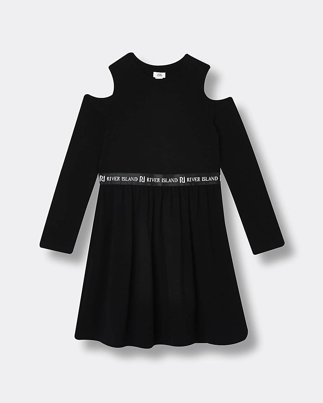 Girls black RI cold shoulder skater dress