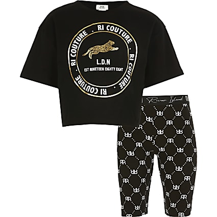 Girls black RI 'Couture' t-shirt outfit