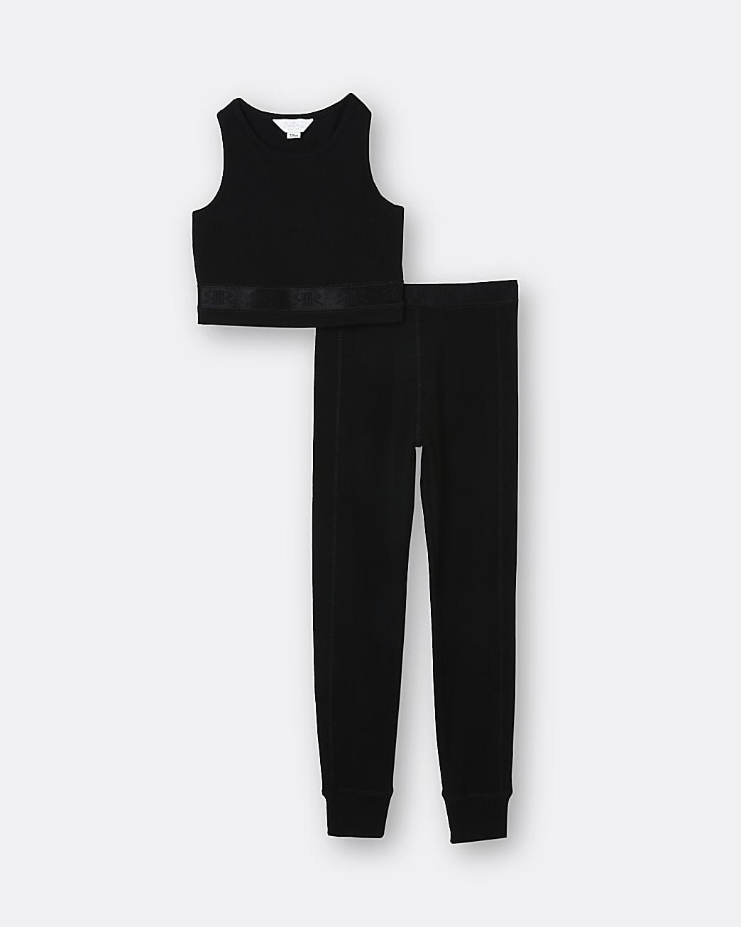 Girls black RI crop top and leggings set