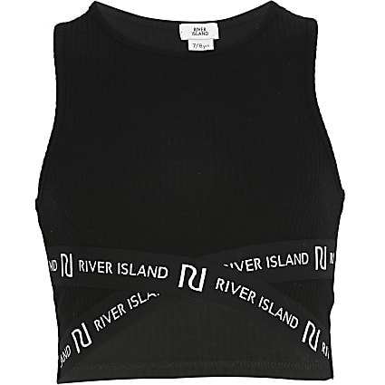 Girls black RI cross over cropped top