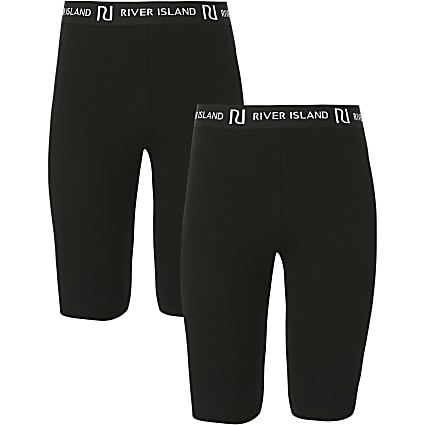 Girls black RI cycling shorts 2 pack