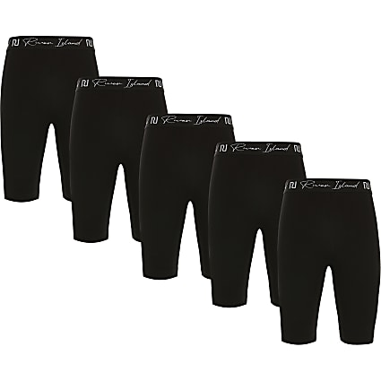 Girls black RI cycling shorts 5 pack