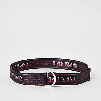 Girls black RI D-ring belt