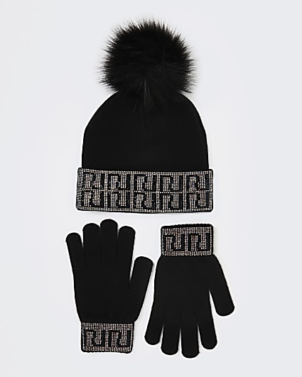 Girls black RI diamante hat and gloves set