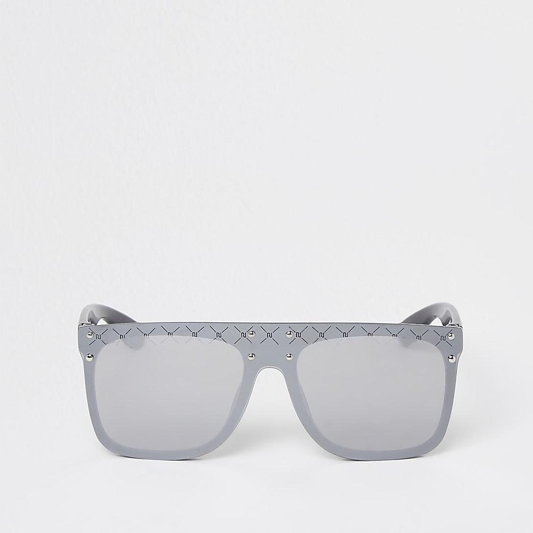 Girls black RI diamante visor sunglasses