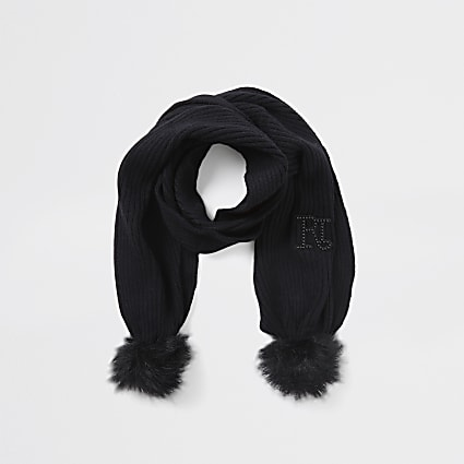 Girls black RI double pom pom scarf