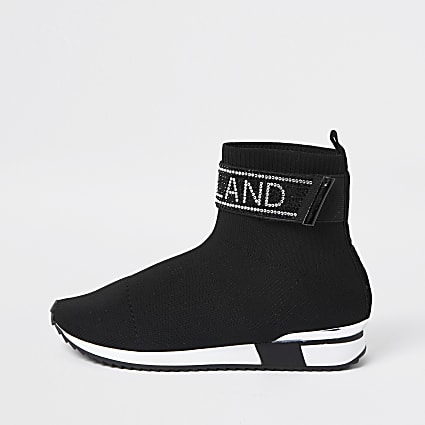 Girls black RI embellished sock trainers