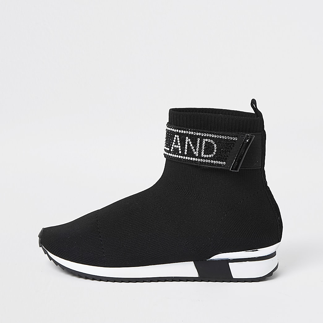Girls black RI embellished sock trainers