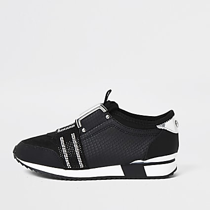 Girls black RI Embellished Trainers