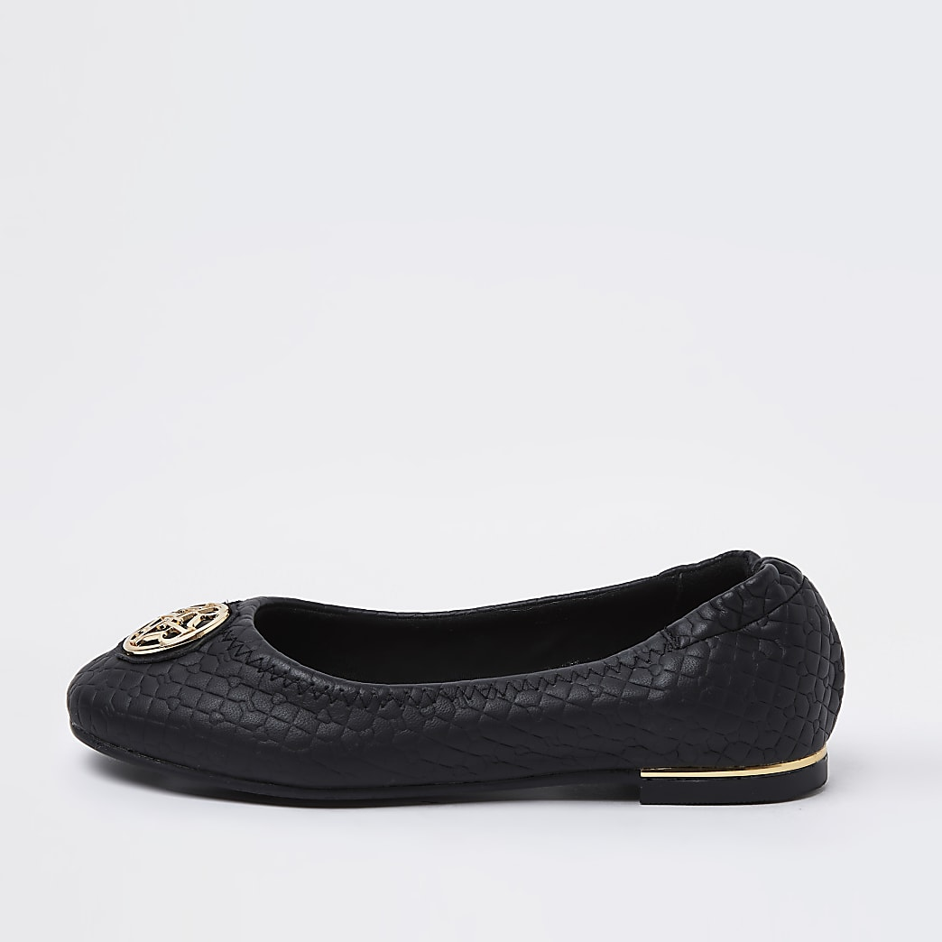 Girls black RI embossed ballet shoes