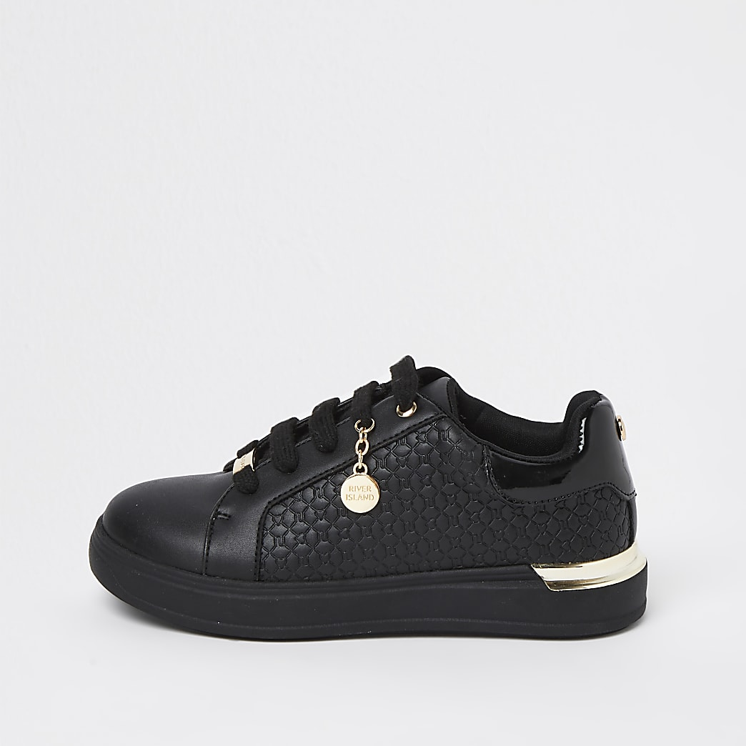 Girls black RI embossed lace up trainers