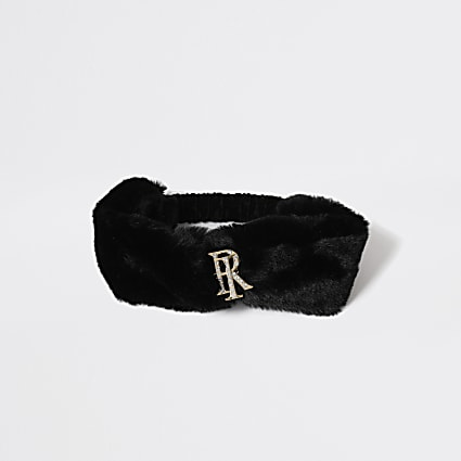 Girls black RI faux fur head band