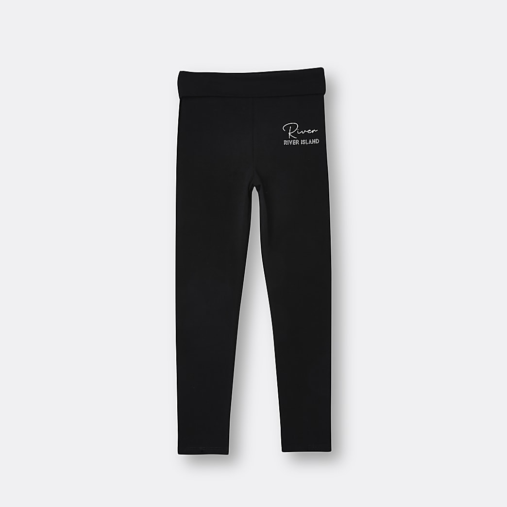 Girls black RI fold over leggings