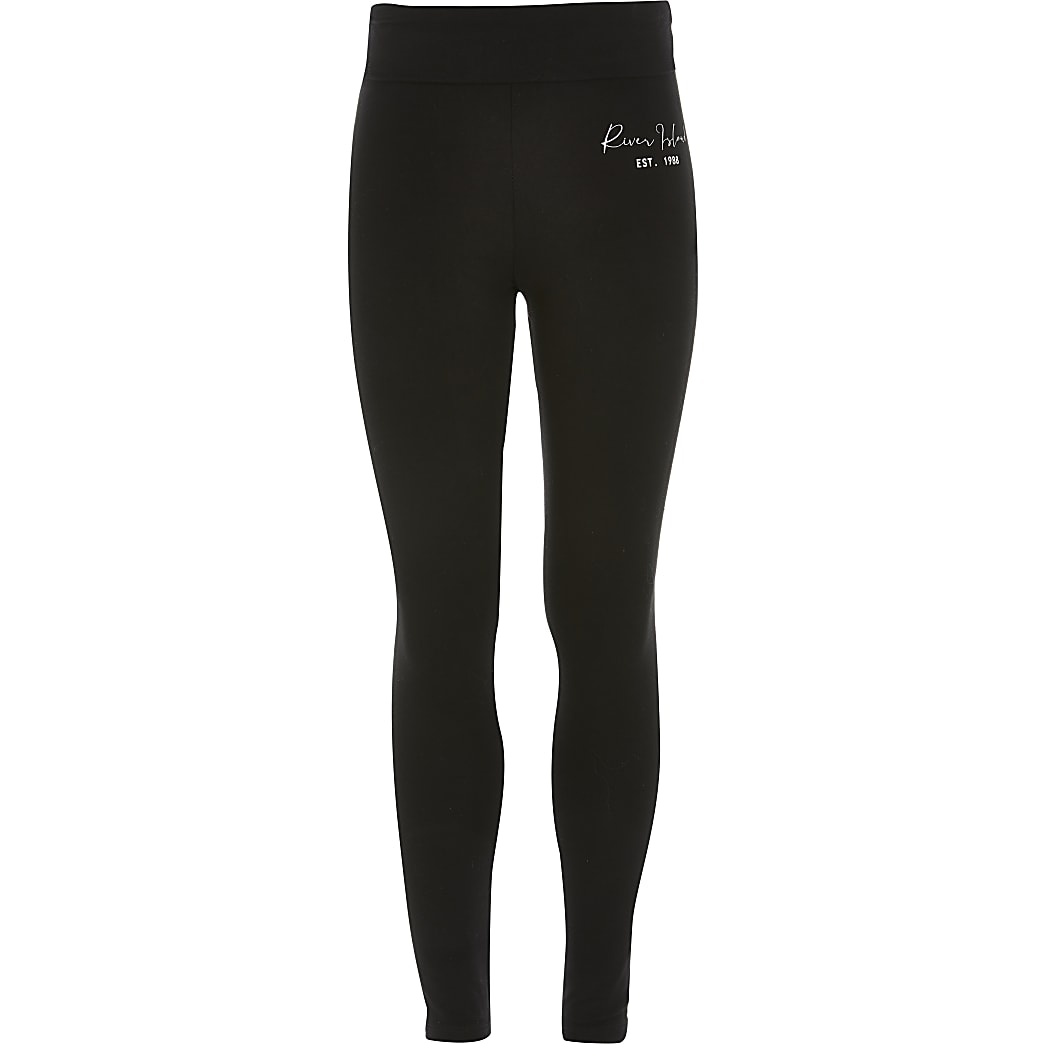 Girls black RI fold over leggings