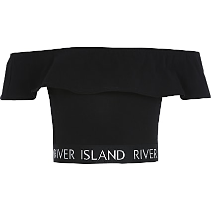 Girls black RI frill bardot cropped top