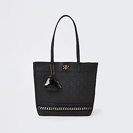 Girls black RI gold chain tote bag