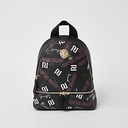 Girls black RI graffiti printed backpack