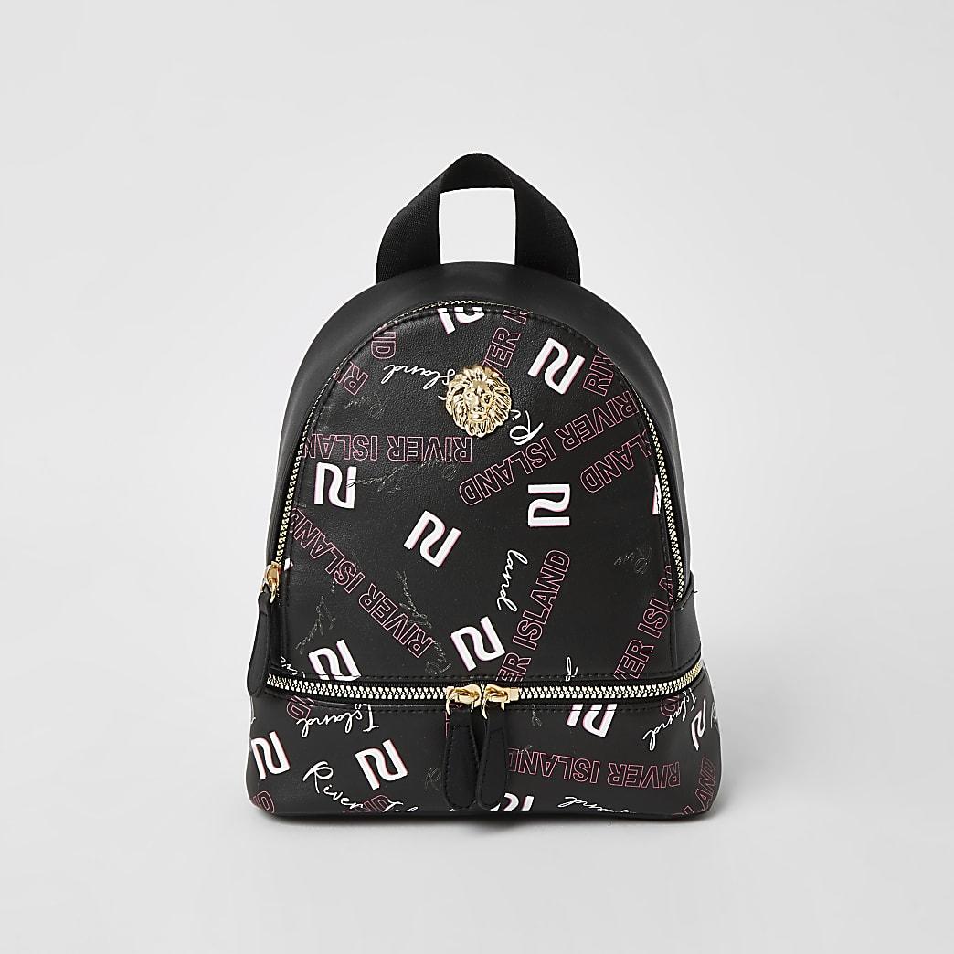 Girls black RI graffiti printed backpack