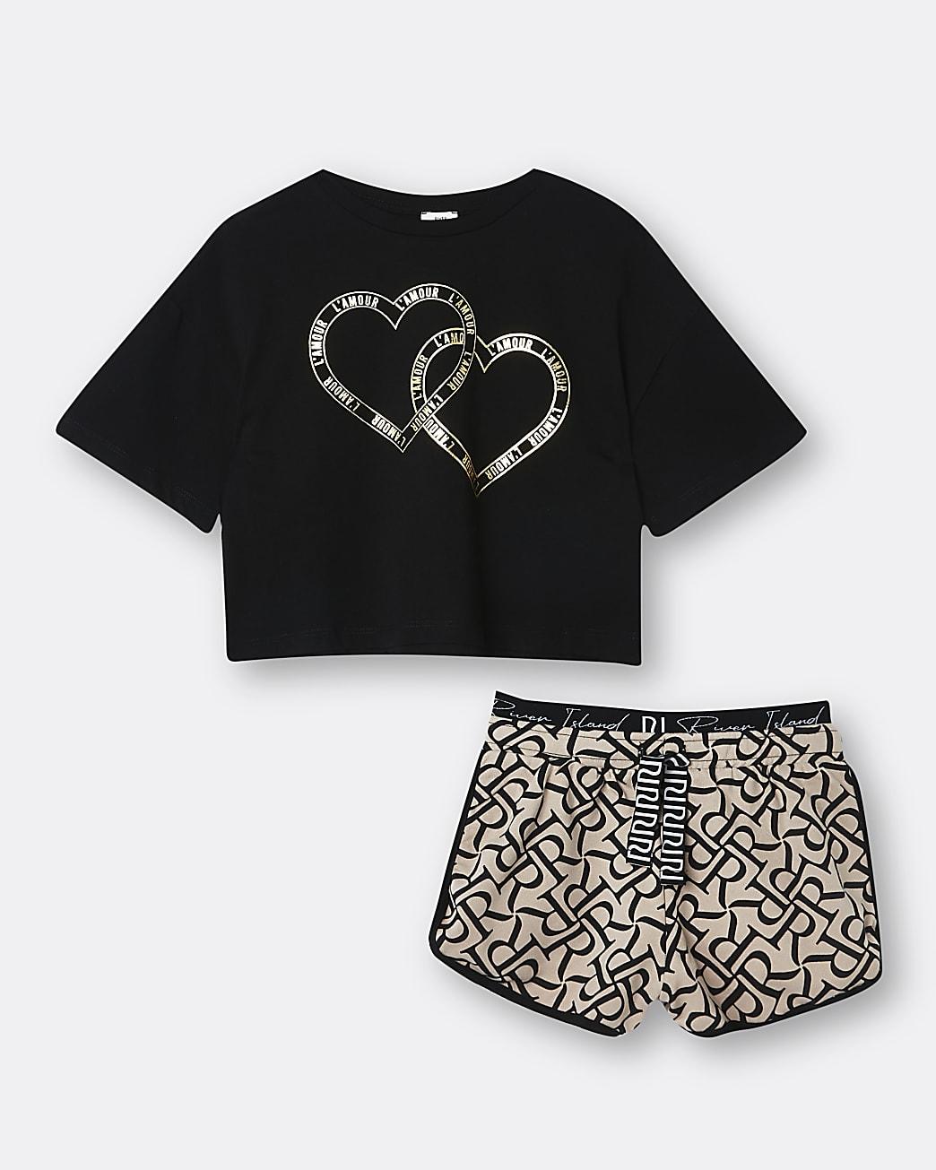 Girls black RI heart print t-shirt and shorts