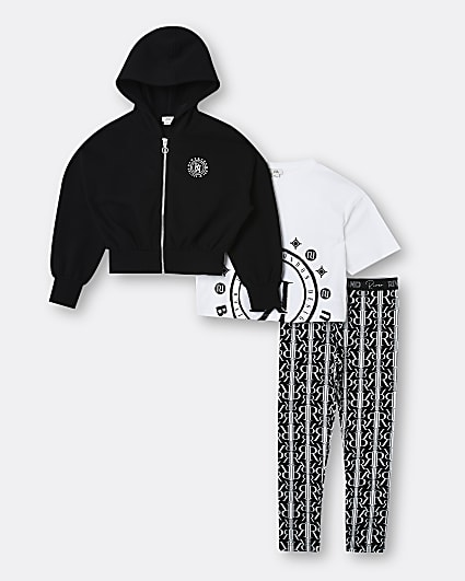 Girls black RI hoodie and leggings outfit