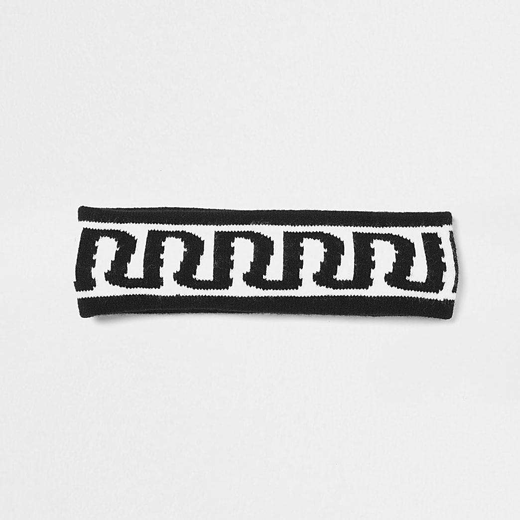 Girls black RI knit bandeau hair band