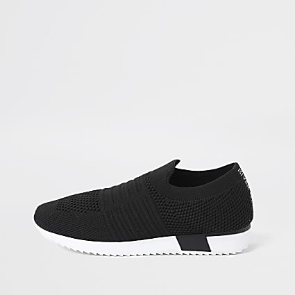 Girls black RI knitted trainers