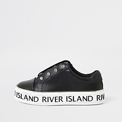 Girls black RI lace-up flatform trainers