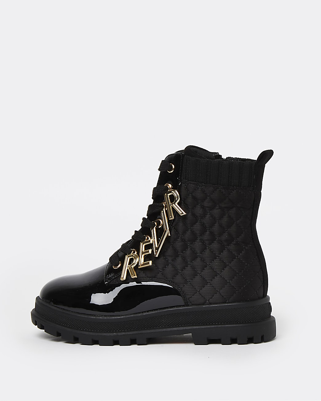 Girls black RI letter charm lace up boots