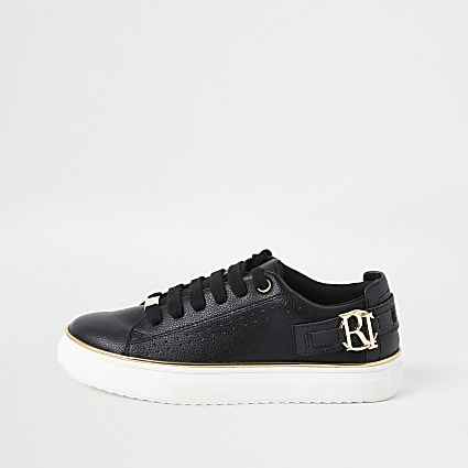 Girls black RI logo lace up trainer