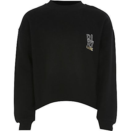 Girls black RI luxe sweatshirt