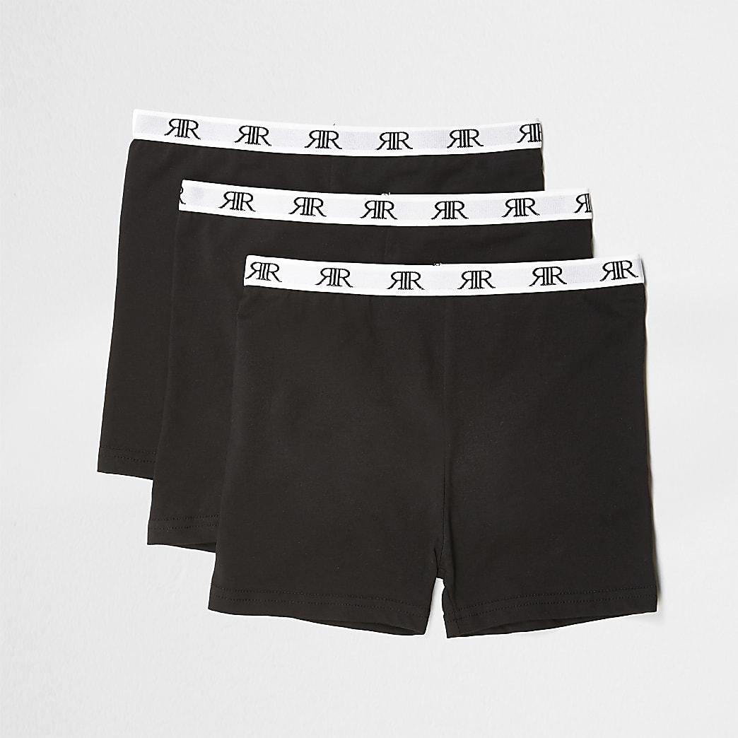Girls black RI modesty shorts 3 pack