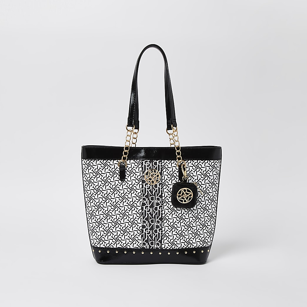 Girls black RI monochrome shopper bag
