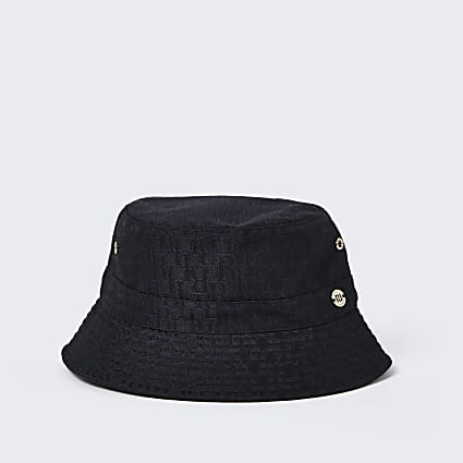 Girls black RI monogram bucket hat