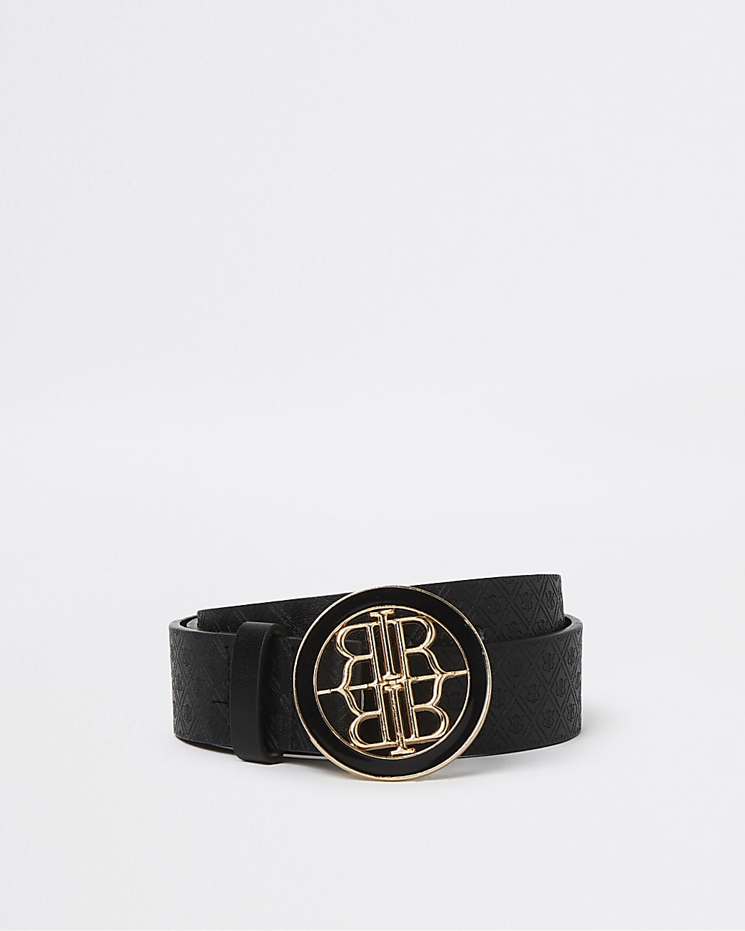 Girls black RI monogram buckle belt
