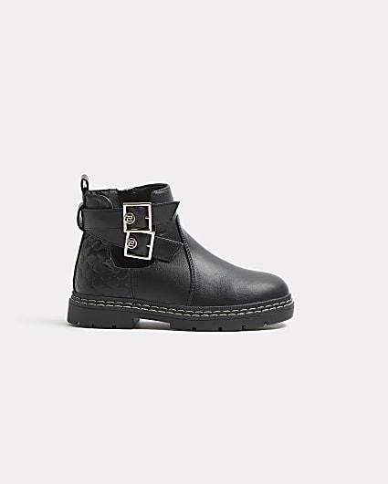 Girls black RI monogram buckle boots