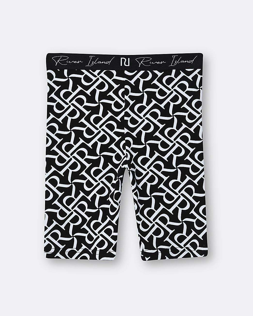 Girls black RI monogram cycling shorts