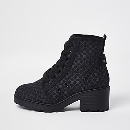 Girls black RI monogram lace up boots