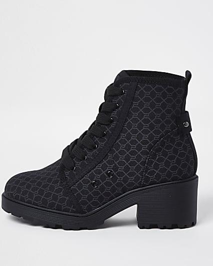 Girls black RI monogram lace up boots
