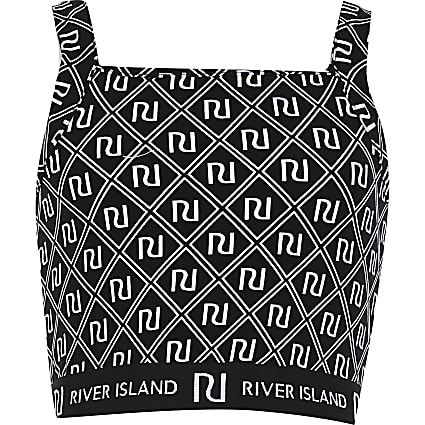 Girls black RI monogram print crop