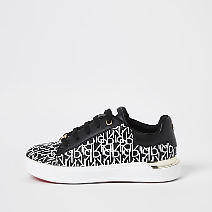 Girls black RI monogram print trainers