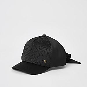 Girls black RI monogram satin cap