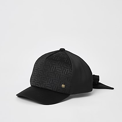Girls black RI monogram satin cap