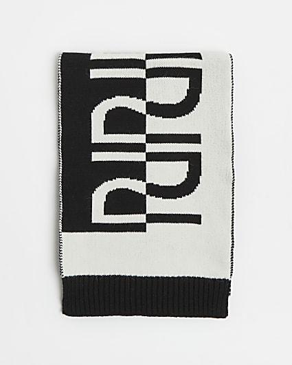 Girls black RI monogram scarf