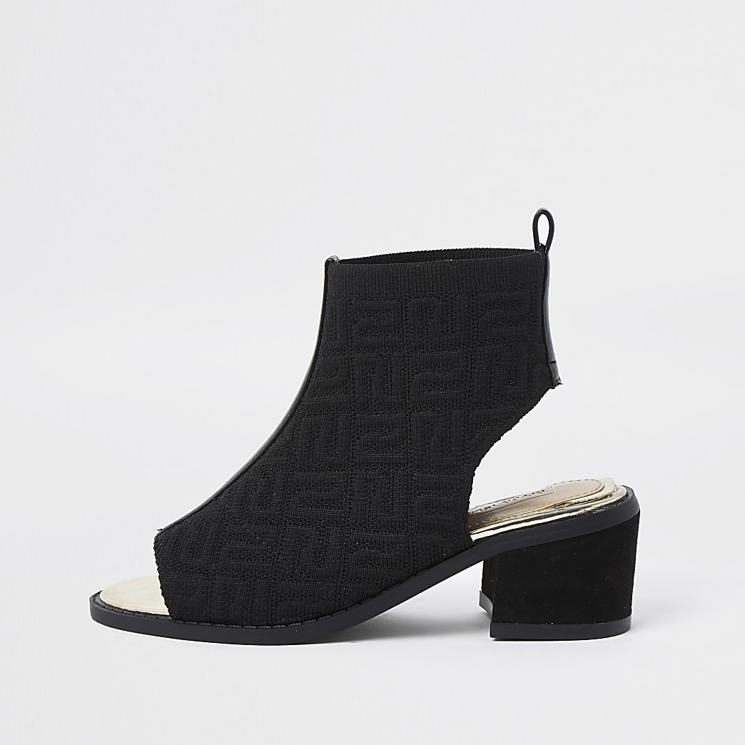 Girls black RI monogram shoeboot