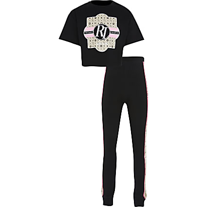 Girls black 'RI' monogram t-shirt outfit