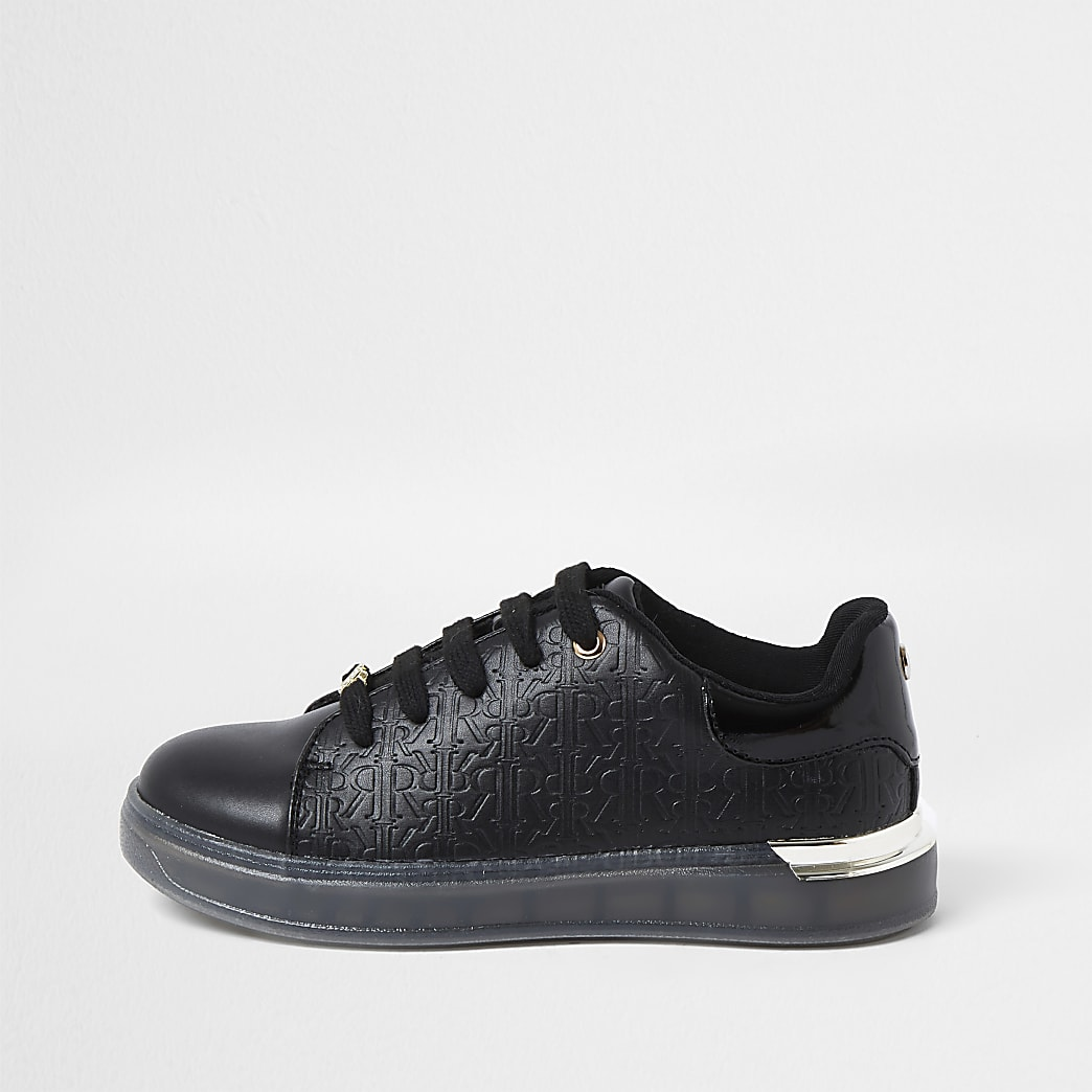 Girls black RI Monogram trainers