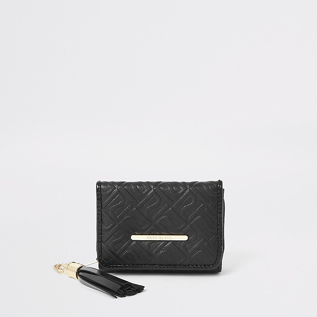 Girls black RI monogram trifold purse