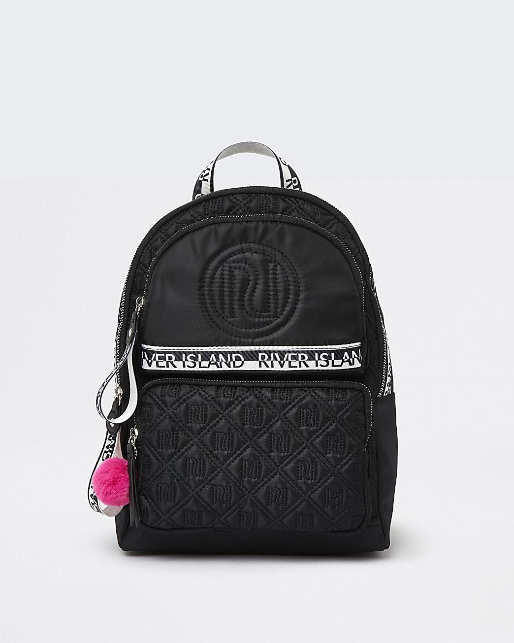 Girls black RI nylon quilted backpack